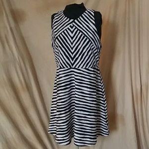 Xhiliration tan and black stripe dress